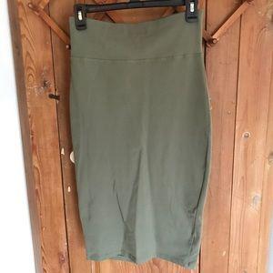 Bebe olive green pencil skirt